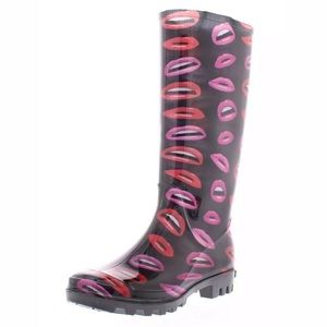 Marilyn Monroe Lips Women's Tall Rain Rubber Boots